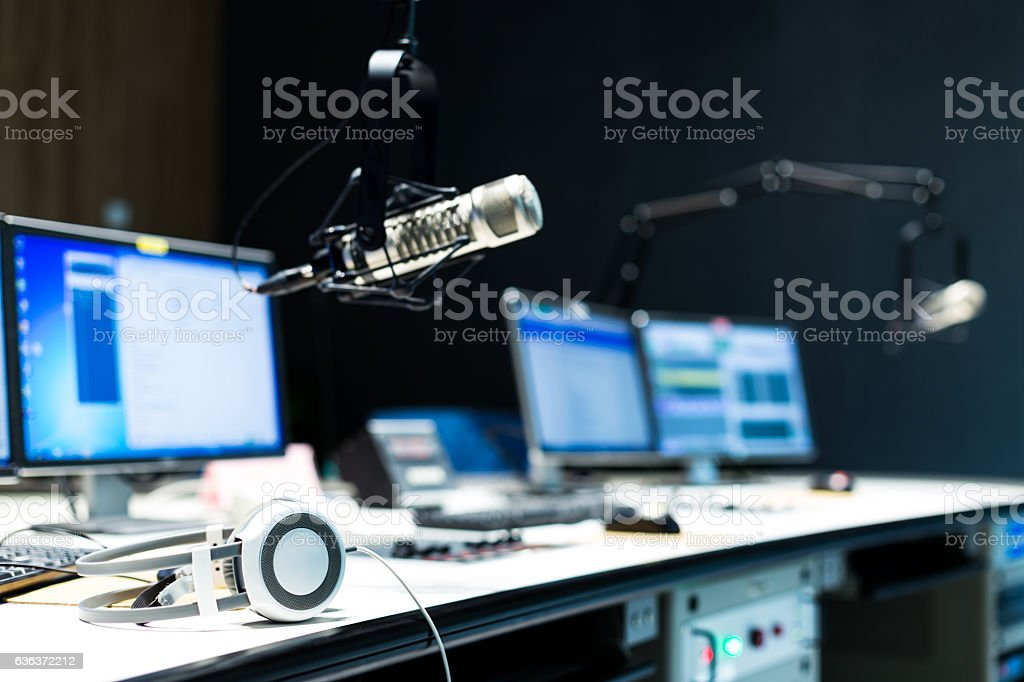 modern equipment in broadcast studio stock photo