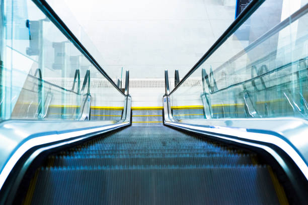 Modern escalator, high angle view, background with copy space stock photo