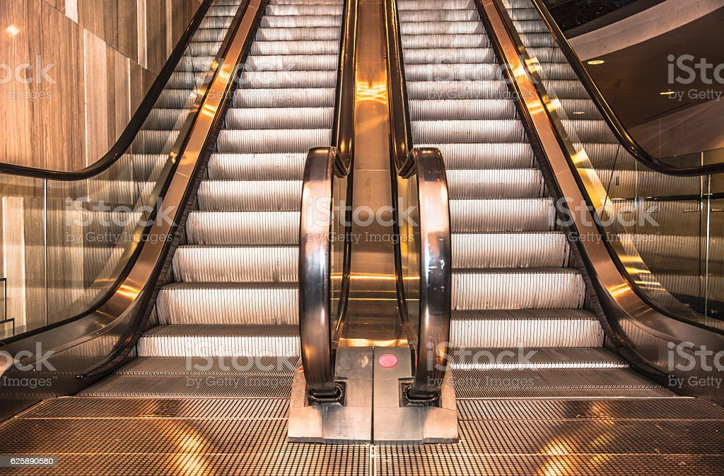 Modern escalator in shopping mall stock photo