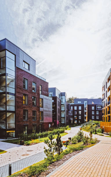 Modern european architecture of apartment residential building quarter stock photo