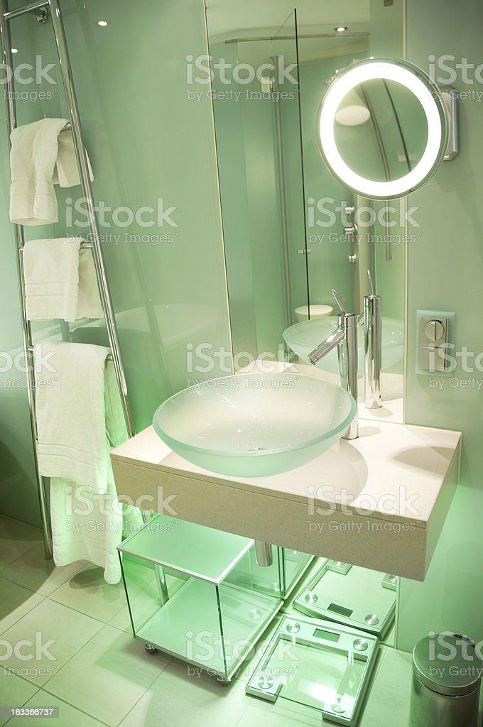 Modern European Bathroom with Glass Panel Walls royalty-free stock photo