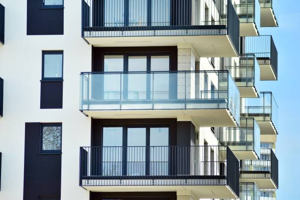 Modern European residential apartment buildings quarter. Abstract architecture, fragment of modern urban geometry. stock photo