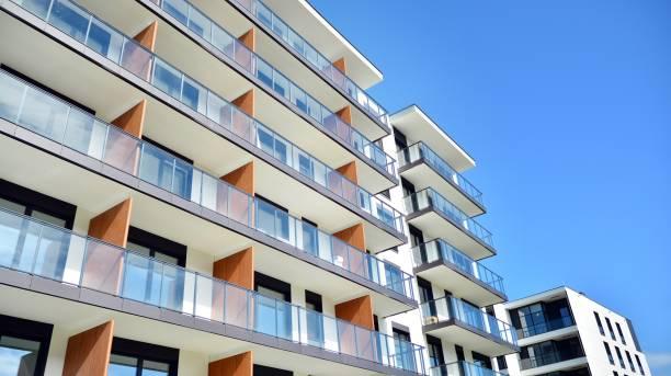 Modern European residential apartment buildings quarter. stock photo