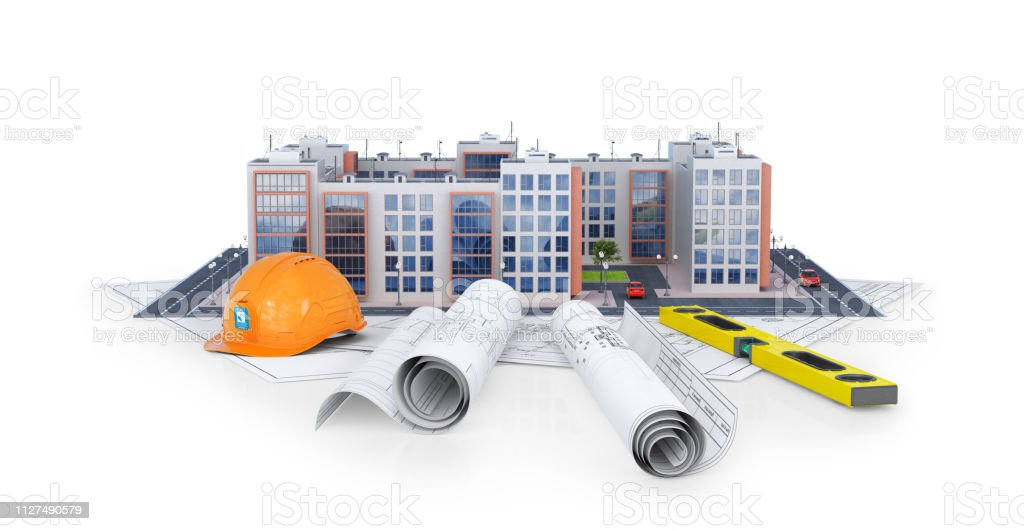 Modern European Residential Complex On A White Background With