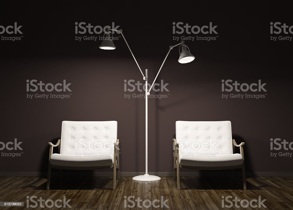 Modern evening interior of room with two armchairs 3d render stock photo