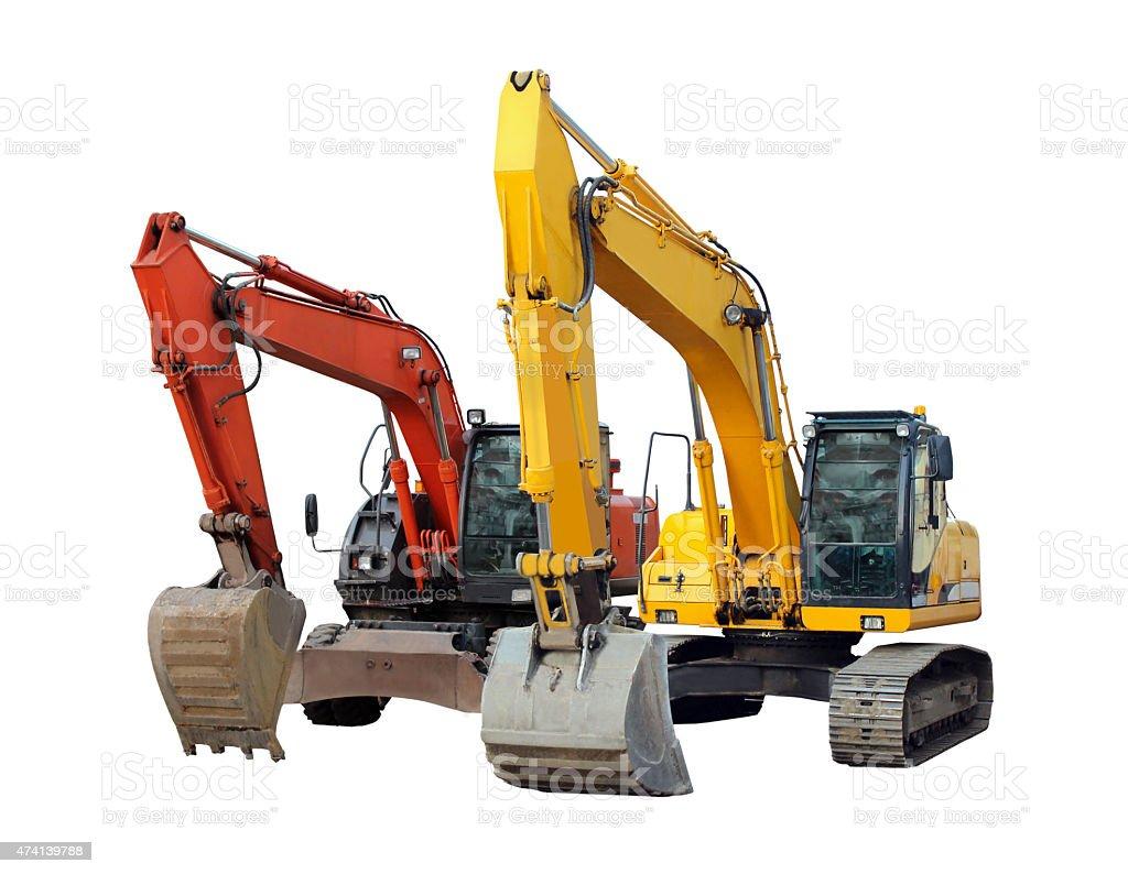 modern excavators isolated on the white stock photo