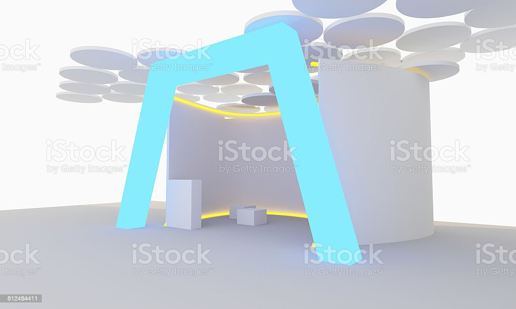 modern exhibition stand stock photo