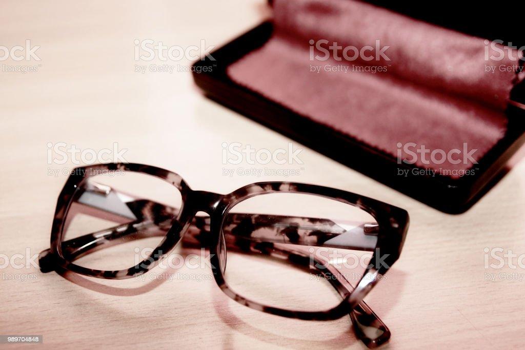 Modern Eyeglasses with box stock photo