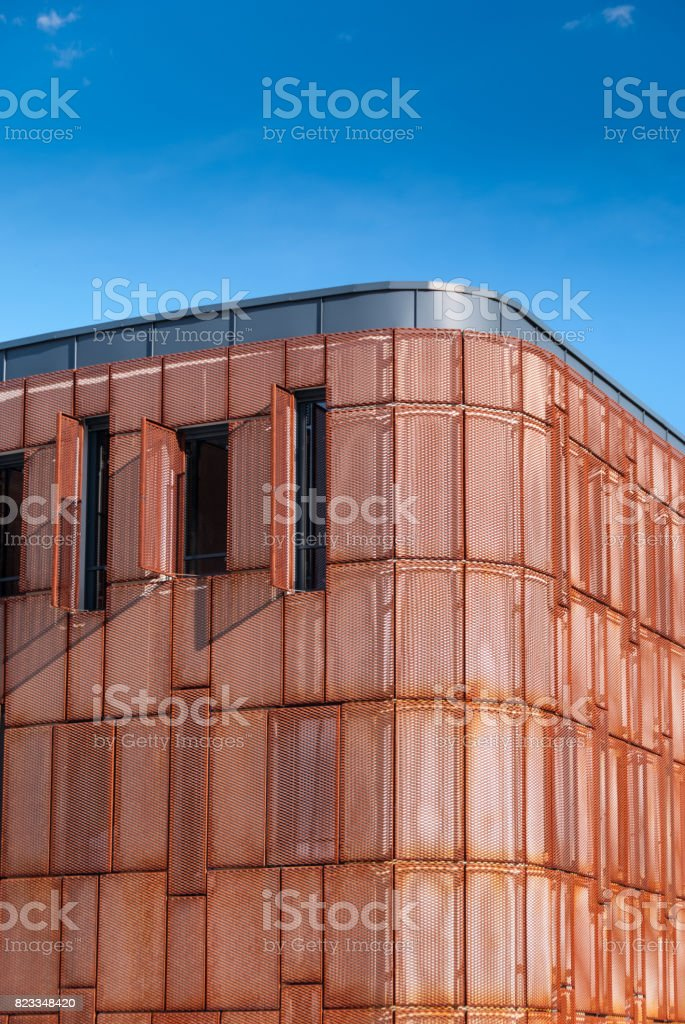 Modern facade building with rusted steel facade stock photo