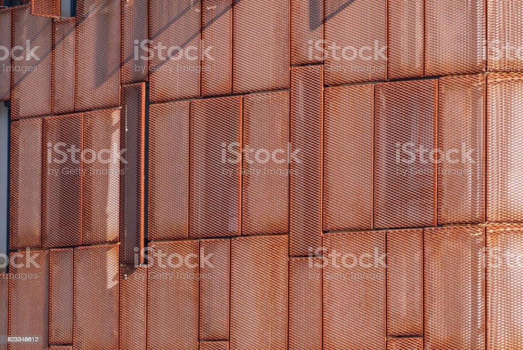 Modern facade building with rusted steel facade stock photo