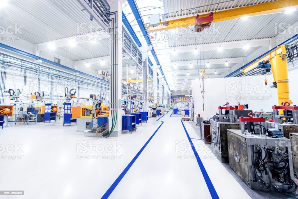 Modern factory & aisle stock photo