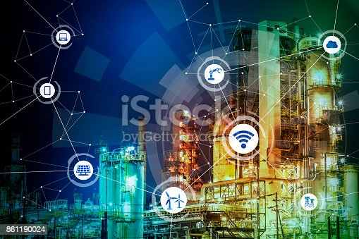 istock modern factory and communication network concept. abstract mixed media. 861190024
