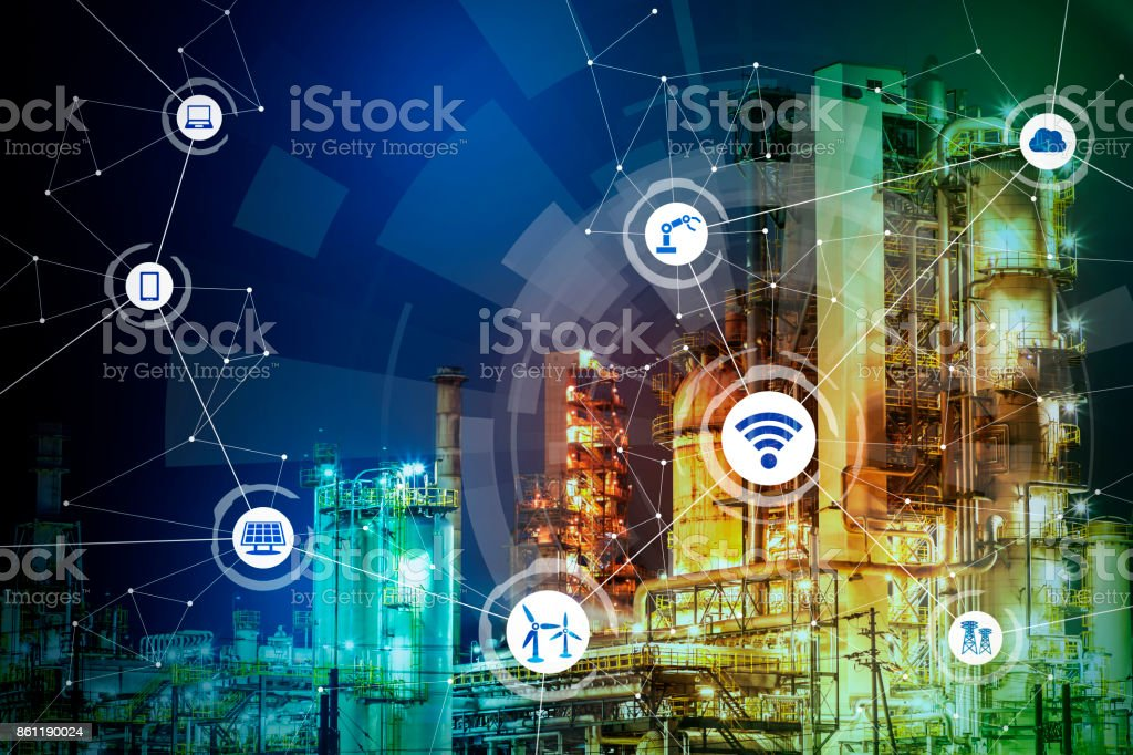 modern factory and communication network concept. abstract mixed media. stock photo