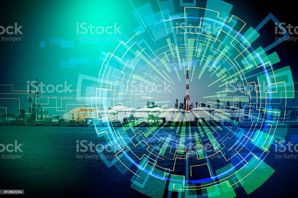 modern factory and electricity abstract, conceptual image visual stock photo