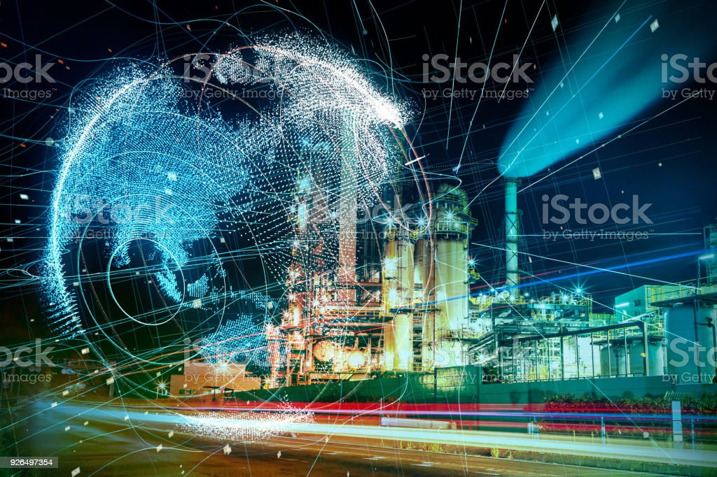 Modern factory and global communication concept. stock photo