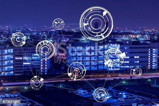 istock modern factory night view and technical concept, abstract image visual 670631652