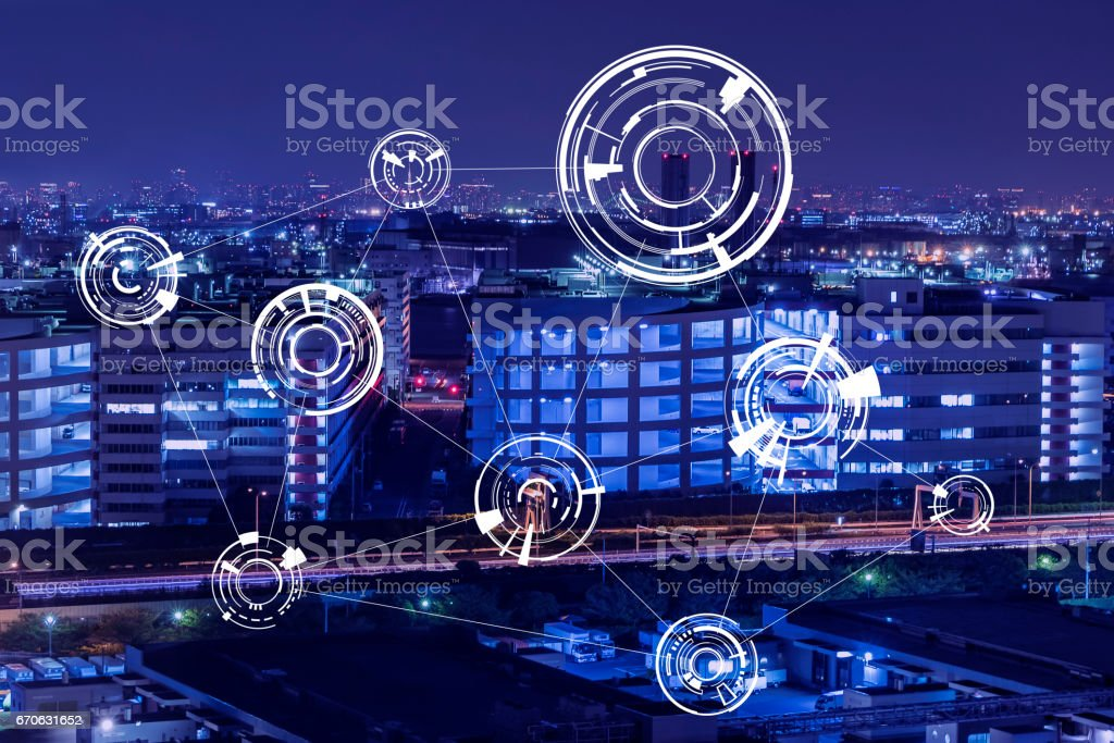 modern factory night view and technical concept, abstract image visual stock photo