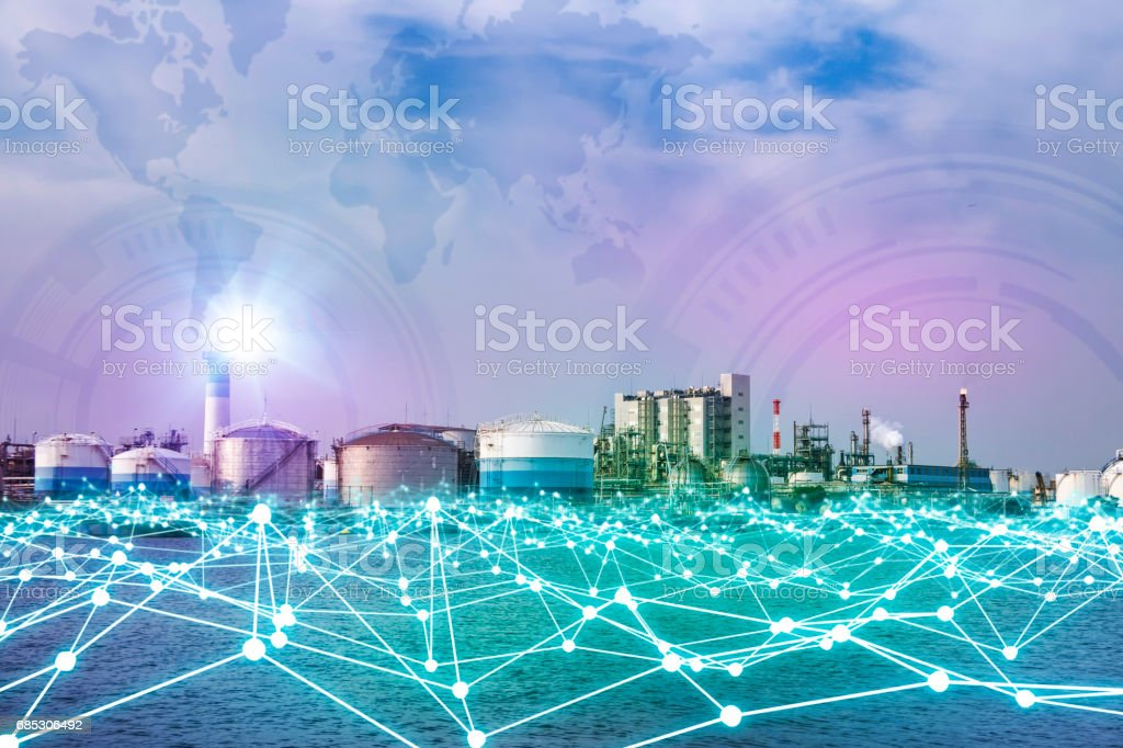 modern factory skyline and mesh network concept stock photo