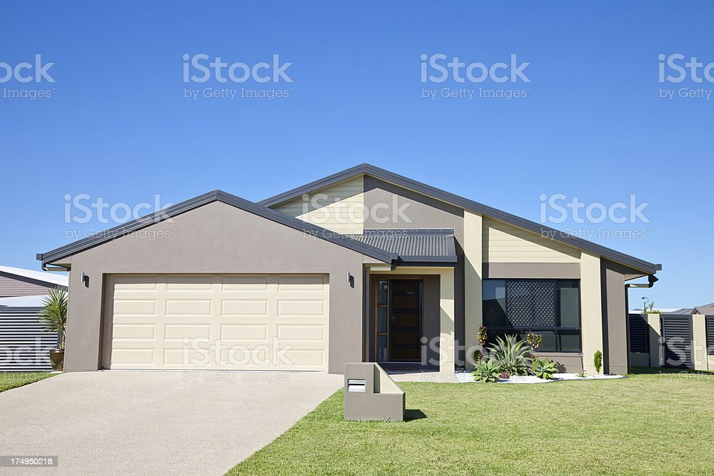 Modern Family Home Front blue sky copyspace stock photo