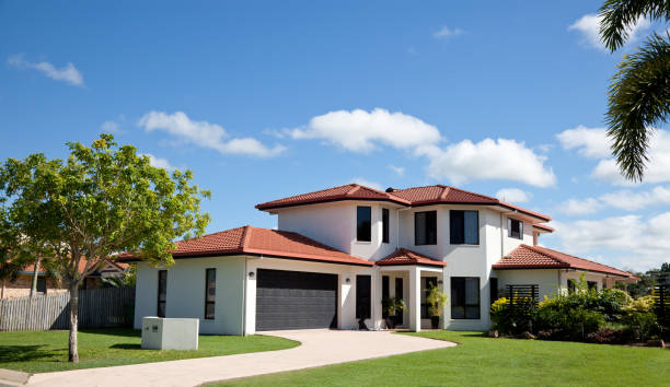 Modern Family Home Frontage stock photo
