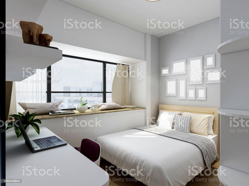 Modern Family Housing Bedroom Design Renderings Stock Photo & More Pictures  of Apartment