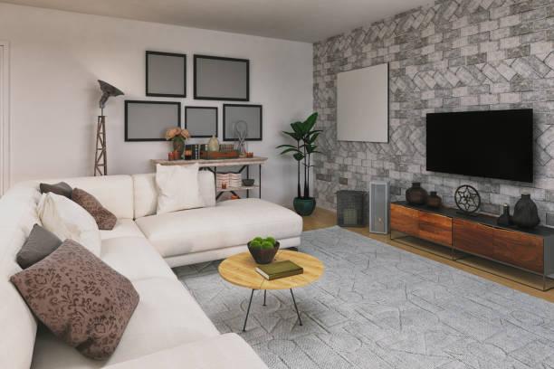 moderne familie wohnzimmer - couchtisch metall stock-fotos und bilder
