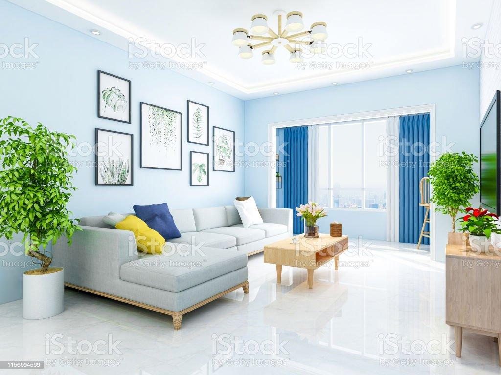 Modern Family Luxury Simple Living Room Design Stock Photo