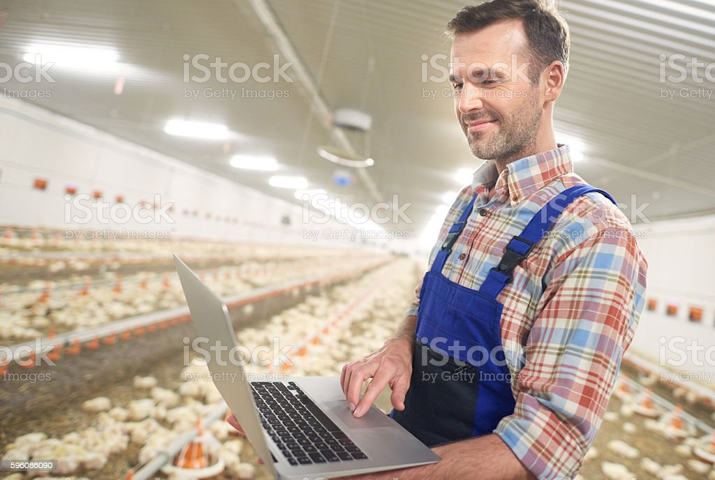 Modern farmer with a laptop royalty-free stock photo
