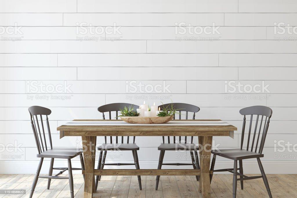 Modernes Bauernhaus Speisesaal 3d Render Stockfoto Und Mehr Bilder Von Bauernhaus Istock