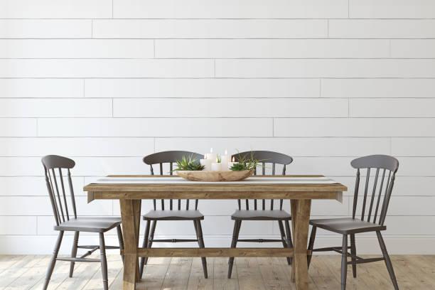 Modern farmhouse dining-room. 3d render. stock photo
