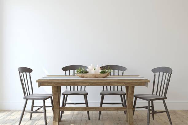 modern farmhouse dining-room. 3d render. - mesa mobília imagens e fotografias de stock