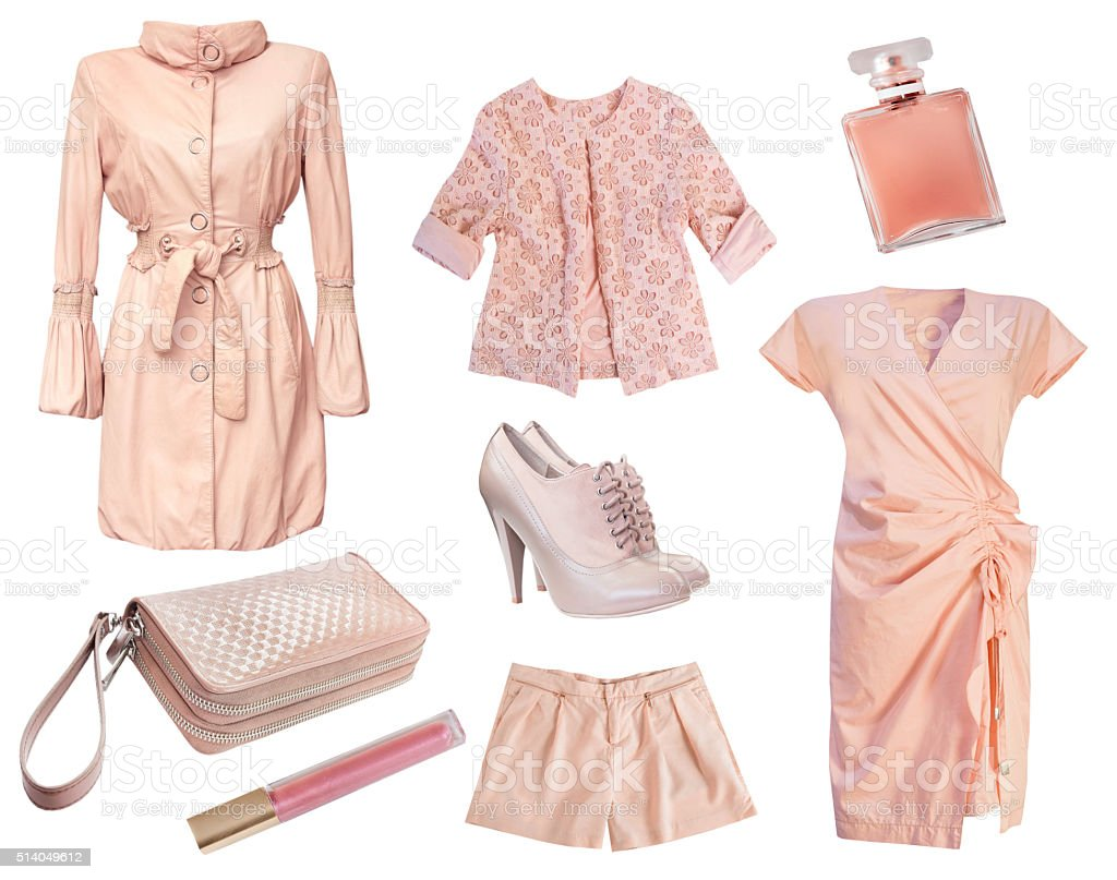 Modern fashion pink female woman's clothe isolated. stock photo