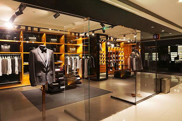 modern fashion shop storefront and showcase stock photo