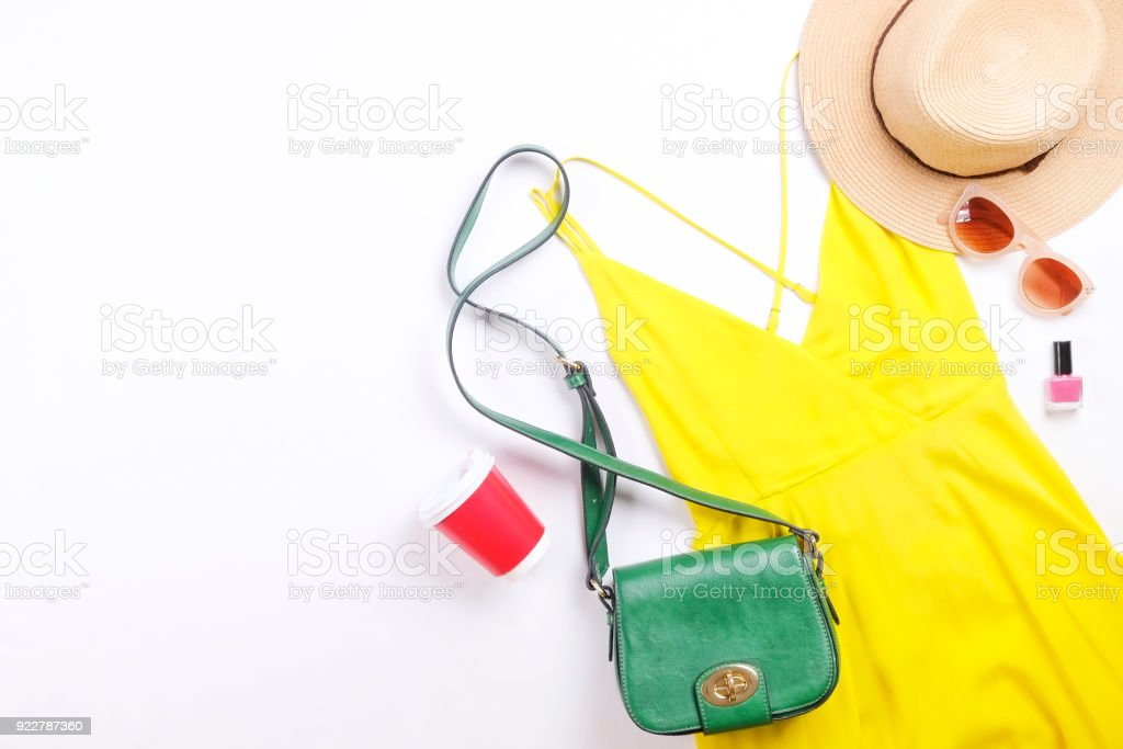 Modern fashionable look for stylish fashion blog lookbook. Flat lay of stylish clothing for woman magazine. Seasonal clearance, Stylish set of woman clothing. stock photo