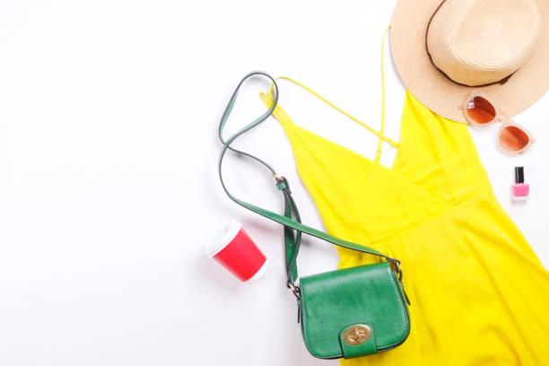 Modern fashionable look for stylish fashion blog lookbook. Flat lay of stylish clothing for woman magazine. Seasonal clearance, Stylish set of woman clothing. stock photo