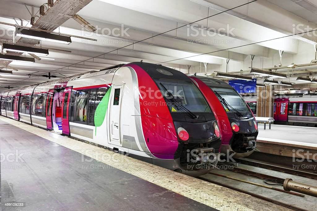 Modern Fast Passenger Train   at the station. stock photo