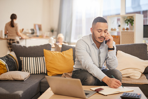 Modern Father Working From Home Stock Photo - Download Image Now