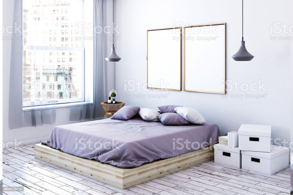 Modern female bedroom with empty poster side stock photo