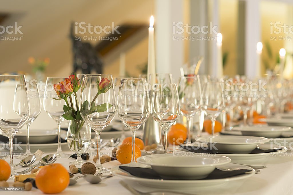 Modern festive dinner table. royalty-free stock photo