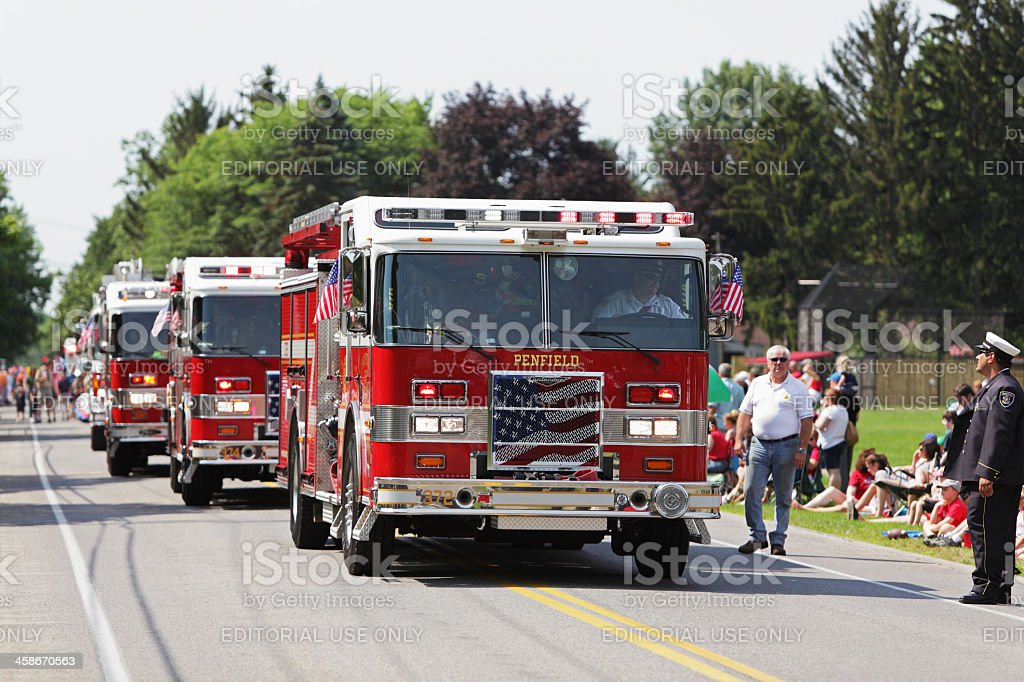 Modern Fire Engines in a July 4th Parade stock photo