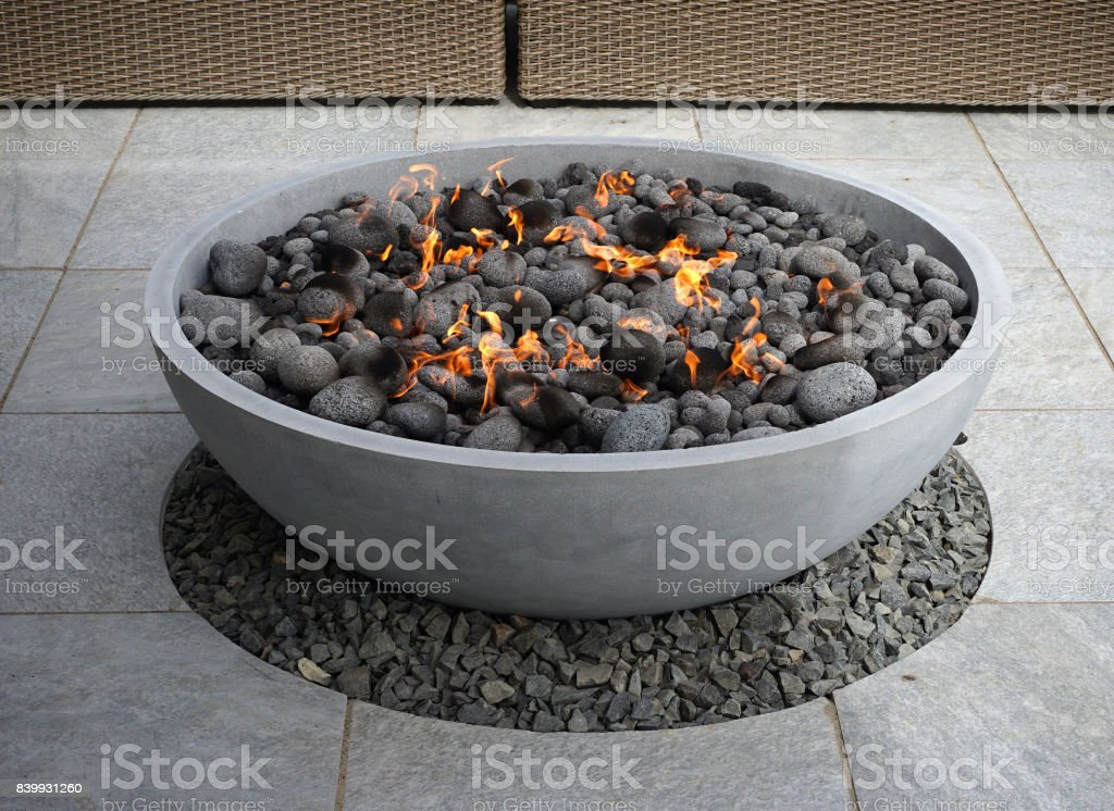 modern fire pit stock photo