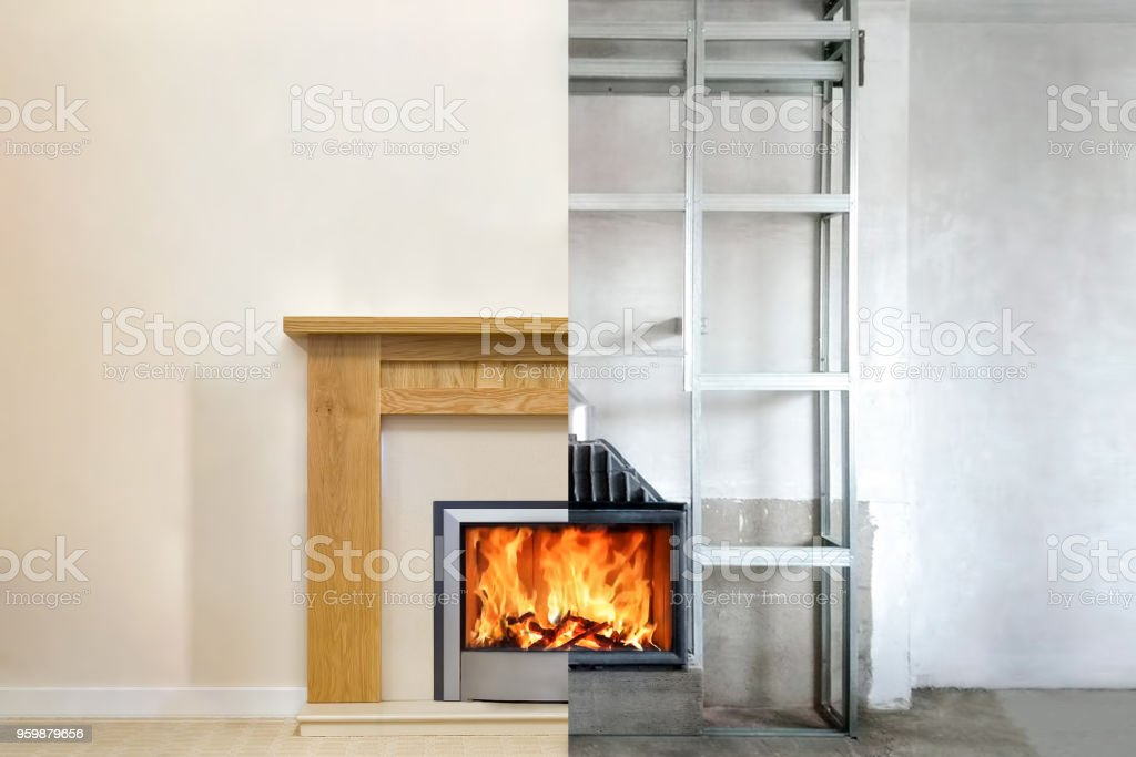 Modern fireplace in the apartment interior with real fire. Process installation stock photo