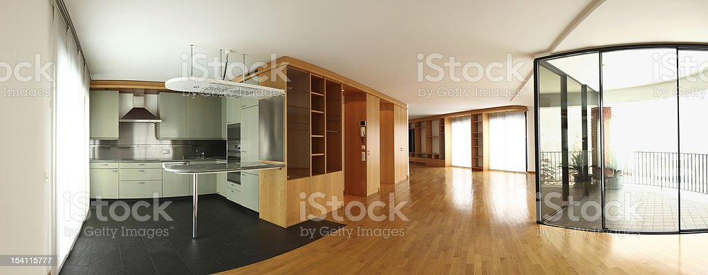 Modern flat, interior, open space royalty-free stock photo