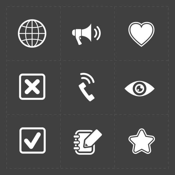 Modern flat social icons set on dark background stock photo