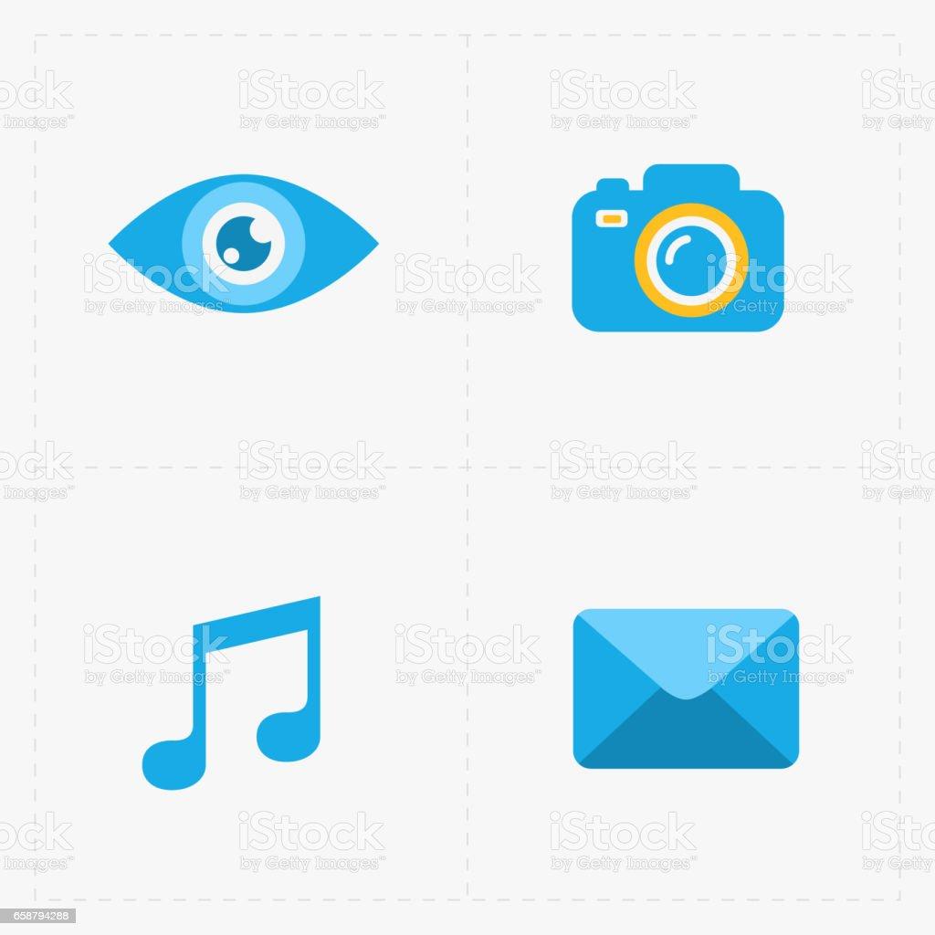 Modern flat social icons set on White stock photo