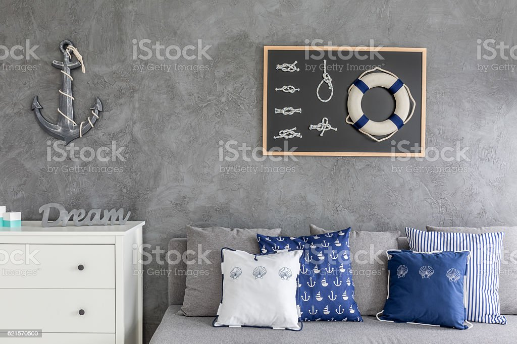 Modern flat with nautical decorations photo libre de droits