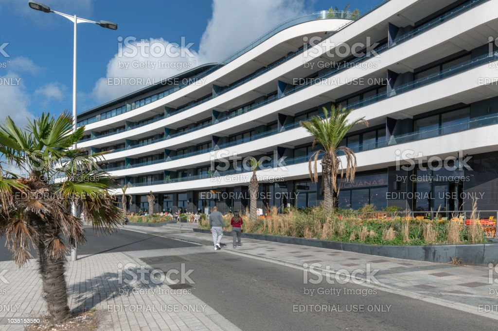 Modern flats and restaurants in Torquay, Devon stock photo