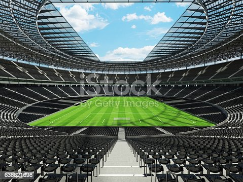 Beautiful modern ound football -  soccer stadium with  black seats and VIP boxes for hundred thousand fans