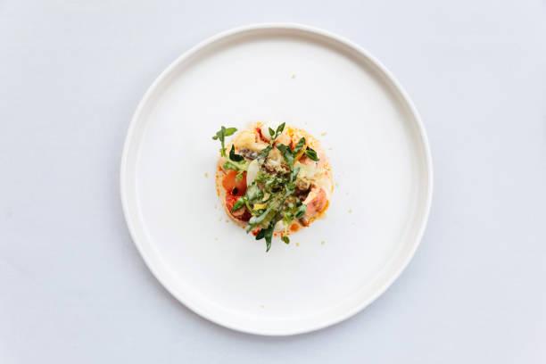 cozinha francesa moderna: vista superior da salada de cauda de lagosta incluindo lagosta, aspargos e sementes de girassol assadas com molho branco servido em prato branco. - fine dining - fotografias e filmes do acervo