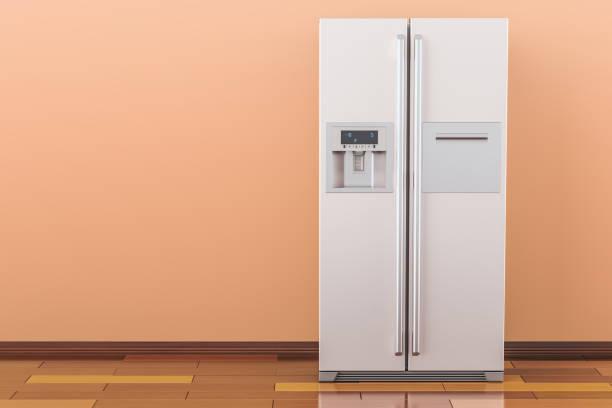 moderner kühlschrank mit side-by-side-tür-system im raum, 3d rendering - geschlossene küchen stock-fotos und bilder